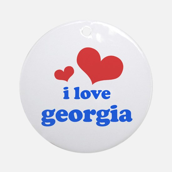 I Love Georgia Ornament (Round)