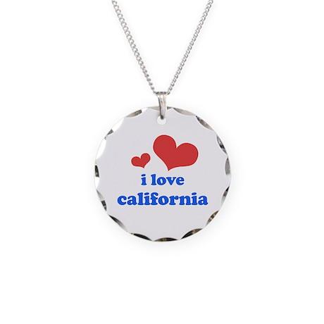I Love California Necklace Circle Charm