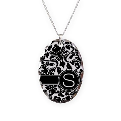 Monogram Letter S Necklace Oval Charm