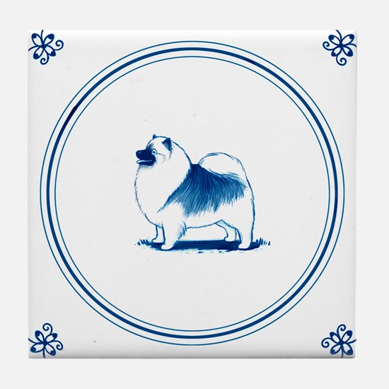 Dutch Style Keeshond Tile Coaster