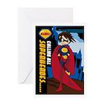 Cute Heroic Superhero Greeting Card