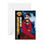 Cute Heroic Superhero Greeting Cards (Pk of 10)