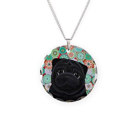 Black Pug Necklace Circle Charm