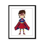 Cute Superhero Girl Framed Panel Print