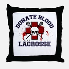 Donate Blood Play Lacrosse Throw Pillow