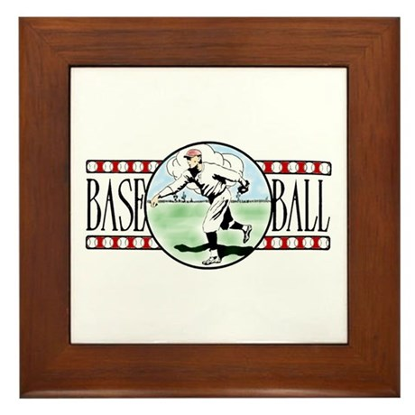 Vintage Baseball Logo Framed Ceramic Tile