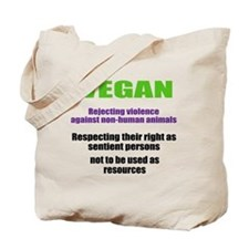 """VEGAN rejecting violence"" Tote Bag"