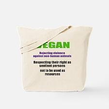 """VEGAN rejecting violence"" Tote Bag"