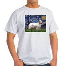 Starry Night Clumber Spaniel Ash Grey T-Shirt