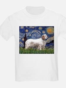 Starry Night Clumber Spaniel Kids T-Shirt
