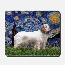 Starry Night Clumber Spaniel Mousepad