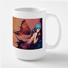 Torn Blue Butterfly Faerie Large Mug