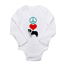 Peace Love Border Collie Long Sleeve Infant Bodysu