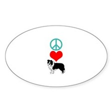 Peace Love Border Collie Decal