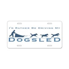 Cute Sled dog Aluminum License Plate