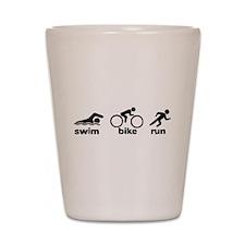 Swim Bike Run Shot Glass
