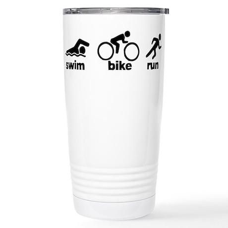Swim Bike Run Stainless Steel Travel Mug
