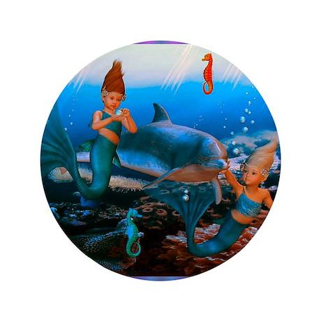 """Best Seller Merrow Mermaid 3.5"""" Button (100 pack)"""