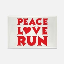 Peace Love Run - red Rectangle Magnet