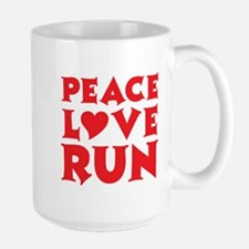 Peace Love Run - red Large Mug