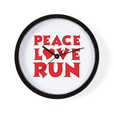 Peace Love Run - red Wall Clock