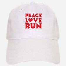 Peace Love Run - red Baseball Baseball Cap