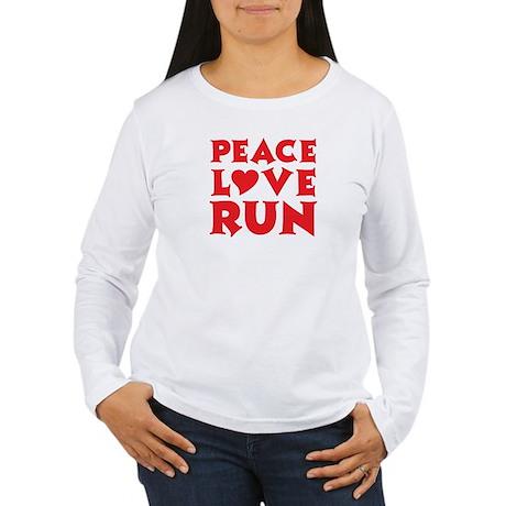 Peace Love Run - red Women's Long Sleeve T-Shirt