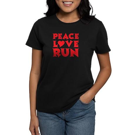 Peace Love Run - red Women's Dark T-Shirt