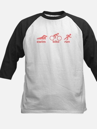 Swim Bike Run Kids Baseball Jersey
