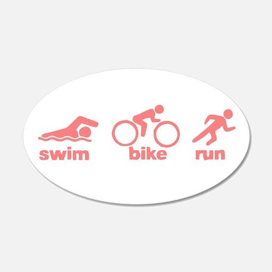 Swim Bike Run 22x14 Oval Wall Peel