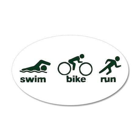 Swim Bike Run 38.5 x 24.5 Oval Wall Peel