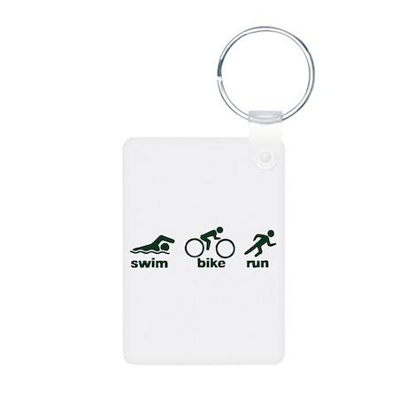 Swim Bike Run Aluminum Photo Keychain