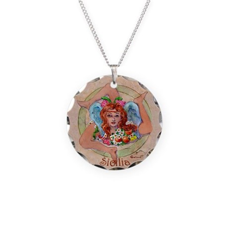 sicilian trinacria necklace circle charm by gwinnettarts