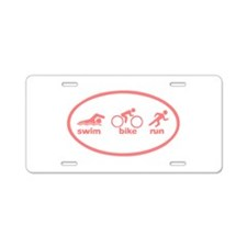 Swim Bike Run Aluminum License Plate