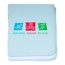 Swim Strong, Cycle Fast, Run to Win baby blanket
