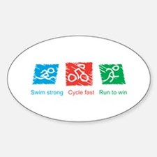 Swim Strong, Cycle Fast, Run to Win Decal