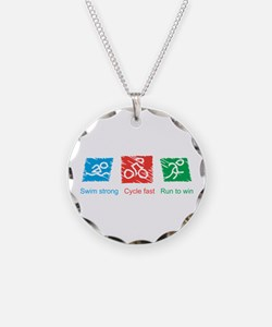 Swim Strong, Cycle Fast, Run to Win Necklace