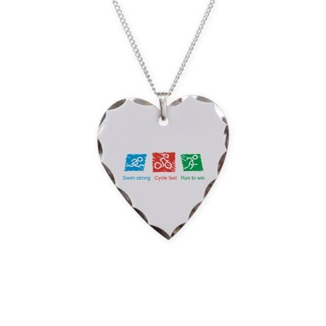 Swim Strong, Cycle Fast, Run to Win Necklace Heart