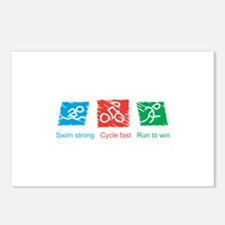 Swim Strong, Cycle Fast, Run to Win Postcards (Pac