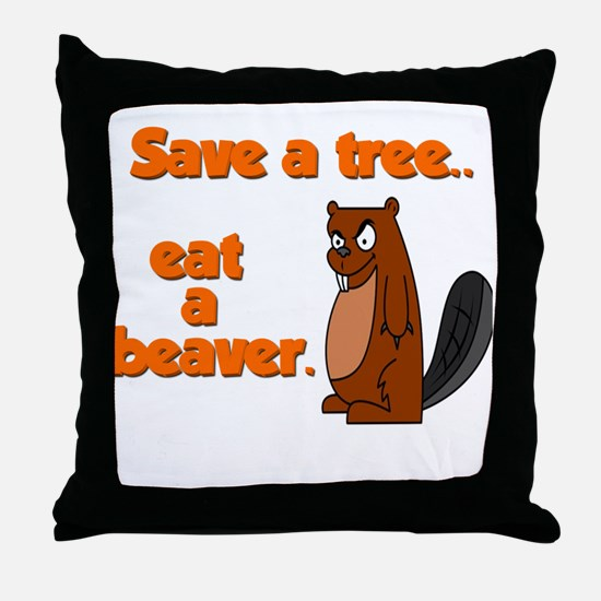 Funny Save A Tree Throw Pillow