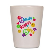 Smile Groovy Love Peace Shot Glass