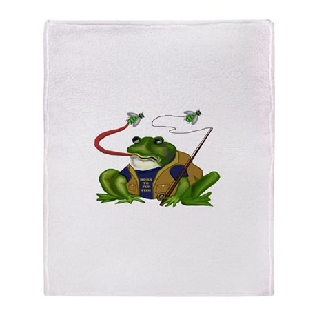 Born To Fly Fish Frog Throw Blanket