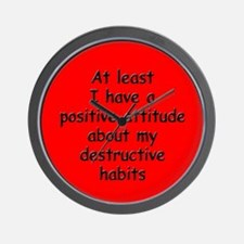Positive Attitude about Habits Wall Clock