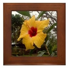 Yellow Hibiscus Framed Tile