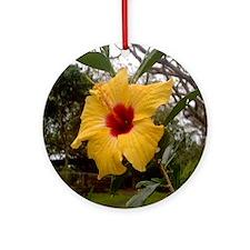 Yellow Hibiscus Ornament (Round)