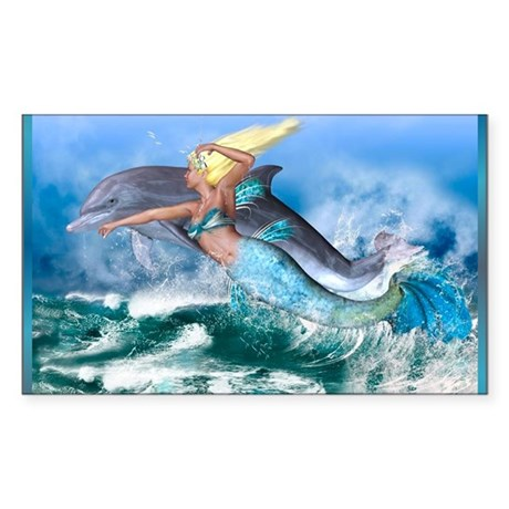 Best Seller Merrow Mermaid Sticker (Rectangle)