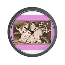Easter Kittens Wall Clock