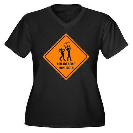 Monitored Women's Plus Size V-Neck Dark T-Shirt