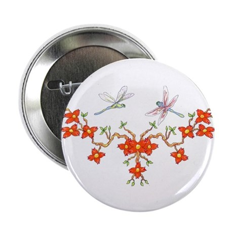 "Cherry Blossom Dragonflies 2.25"" Button (100 pack)"