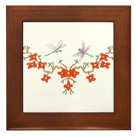 Cherry Blossom Dragonflies Framed Tile